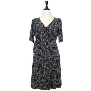 EUC Ralph Lauren Black White Genuine Wrap Dress 12